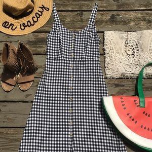 NWOT checkered midi jumper dress